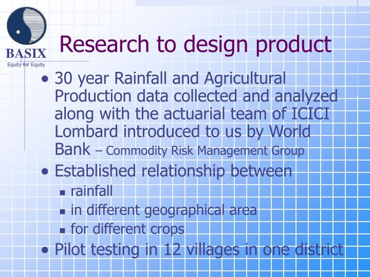 Research to design product