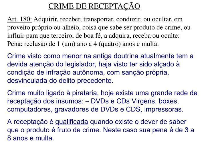 CRIME DE RECEPTAÇÃO