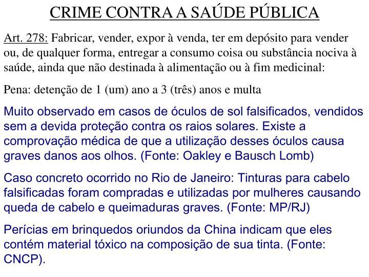 CRIME CONTRA A SAÚDE PÚBLICA