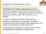 complaint procedures cont