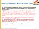 infants and toddlers with disabilities cont