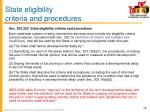state eligibility criteria and procedures