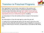 transition to preschool programs