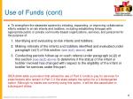 use of funds cont