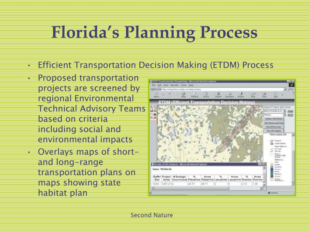 Proposed transportation projects are screened by regional Environmental Technical Advisory Teams based on criteria including social and environmental impacts