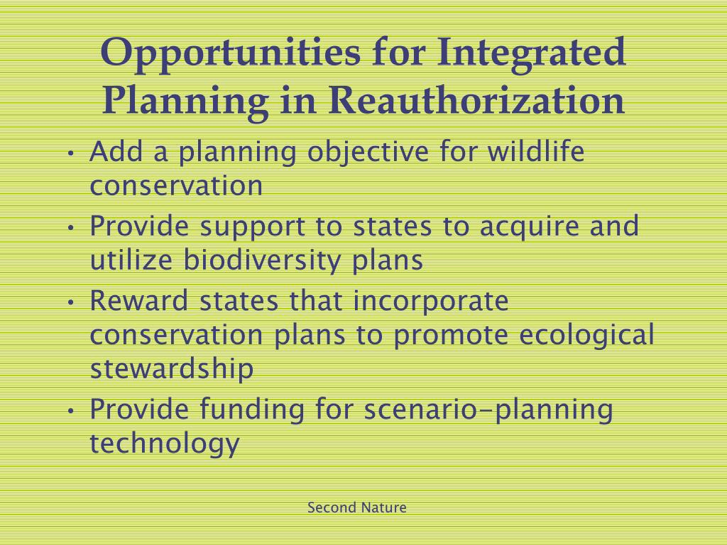 Opportunities for Integrated Planning in Reauthorization
