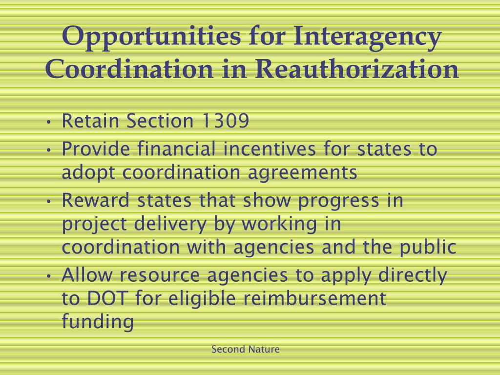 Opportunities for Interagency Coordination in Reauthorization