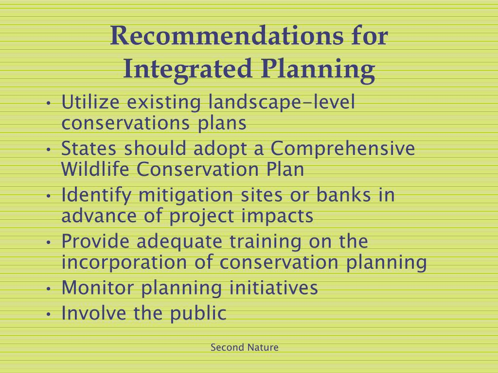 Recommendations for Integrated Planning