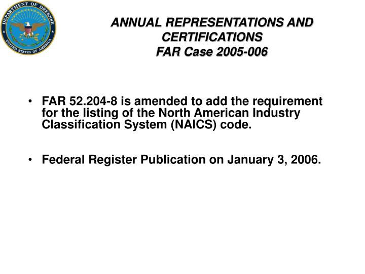 ANNUAL REPRESENTATIONS AND CERTIFICATIONS