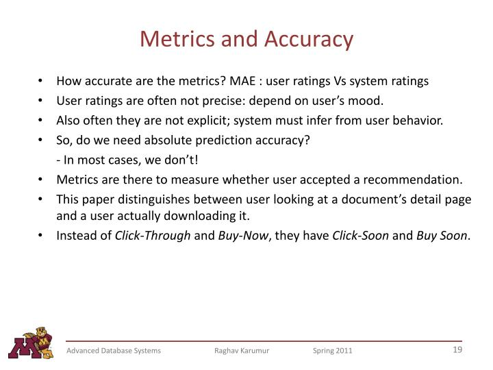 Metrics and Accuracy