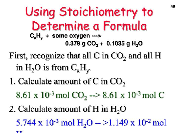 Using Stoichiometry to Determine a Formula