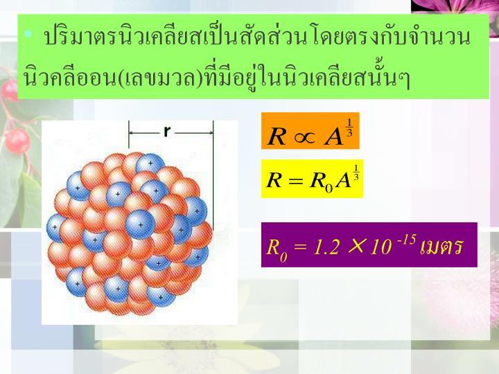 ปริมาตรนิวเคลียสเป็นสัดส่วนโดยตรงกับจำนวน             นิวคลีออน(เลขมวล)ที่มีอยู่ในนิวเคลียสนั้นๆ