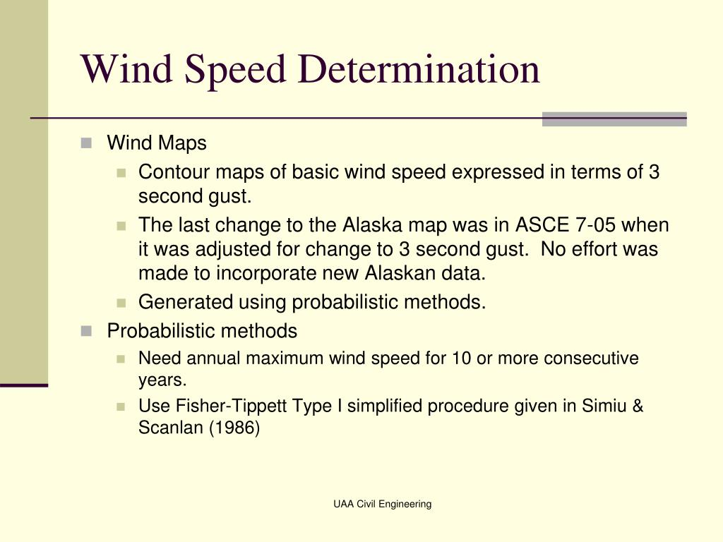 Wind Speed Determination