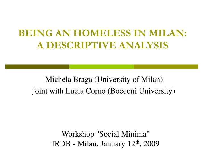 being an homeless in milan a descriptive analysis n.