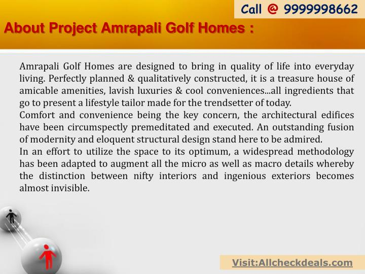 About project amrapali golf homes