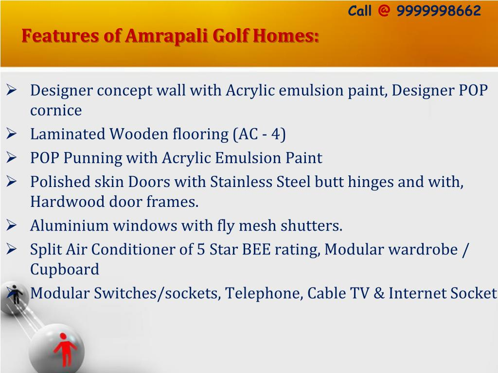 Features of Amrapali Golf Homes: