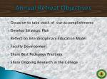 annual retreat objectives
