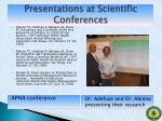 presentations at scientific conferences1
