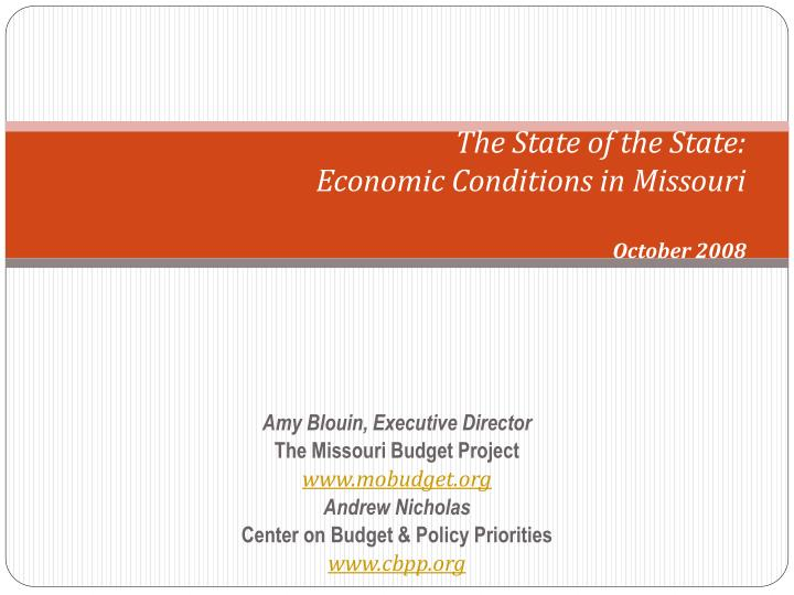 the state of the state economic conditions in missouri october 2008 n.