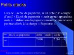 petits stocks