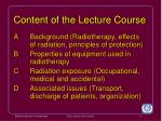 content of the lecture course
