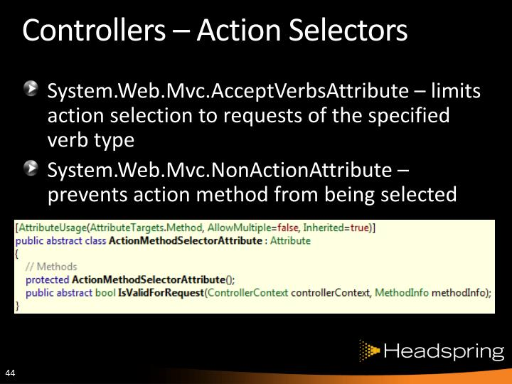 Controllers – Action Selectors