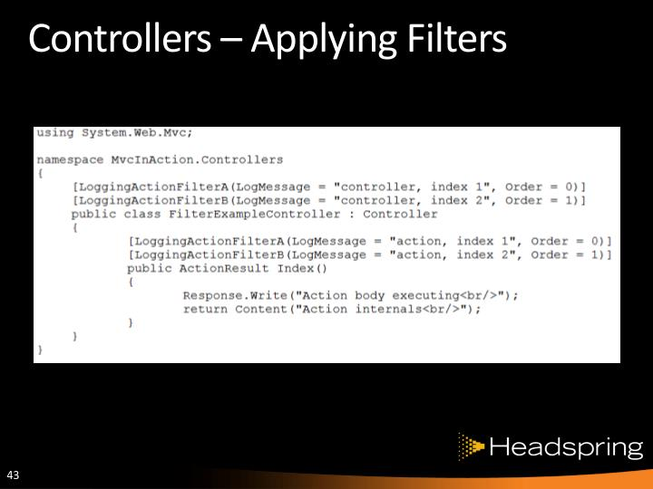 Controllers – Applying Filters