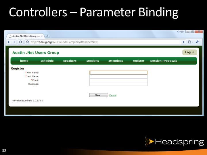 Controllers – Parameter Binding