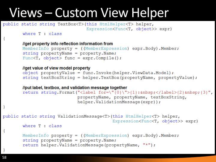 Views – Custom View Helper
