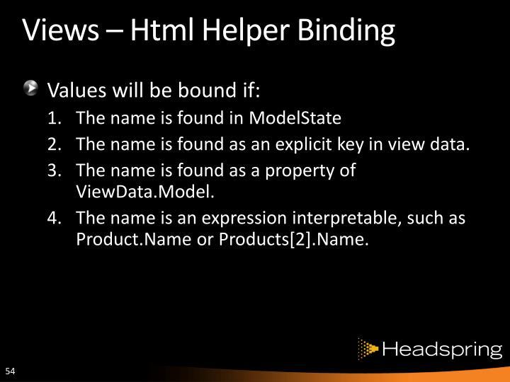 Views – Html Helper Binding