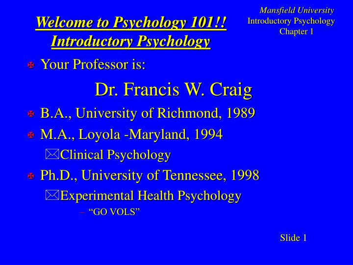 welcome to psychology 101 introductory psychology n.