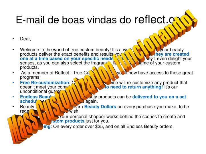 E-mail de boas vindas do