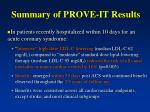 summary of prove it results