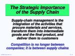 the strategic importance of the supply chain