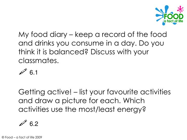 My food diary – keep a record of the food and drinks you consume in a day. Do you think it is balanced? Discuss with your classmates.
