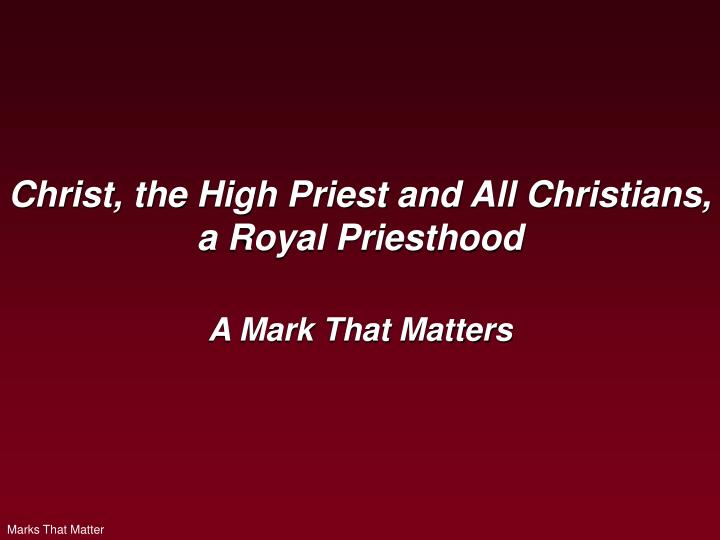 christ the high priest and all christians a royal priesthood n.