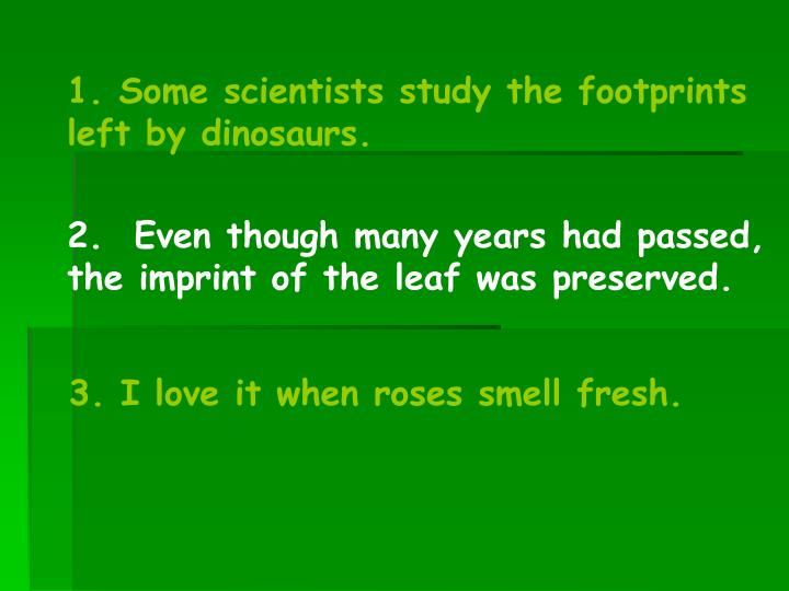 1. Some scientists study the footprints left by dinosaurs.