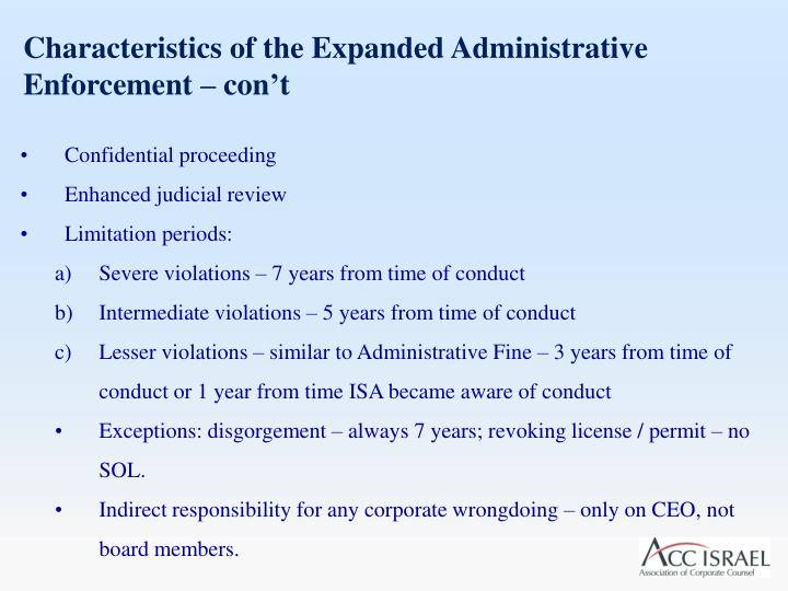 Characteristics of the Expanded Administrative Enforcement –