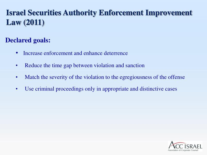 Israel Securities Authority Enforcement Improvement Law (2011)