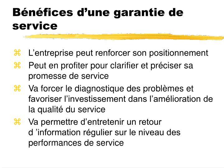 Bénéfices d'une garantie de service