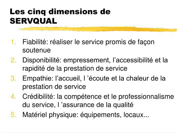 Les cinq dimensions de SERVQUAL