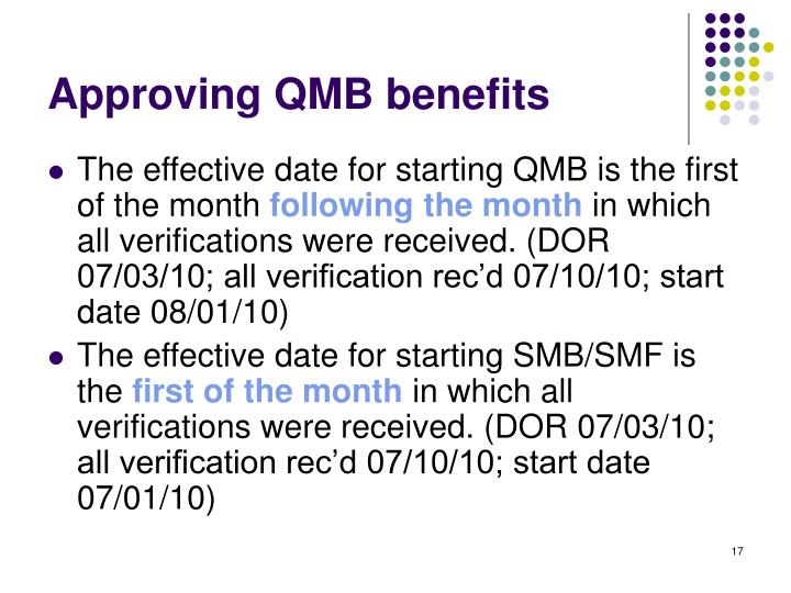 Approving QMB benefits