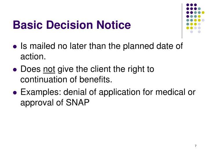 Basic Decision Notice