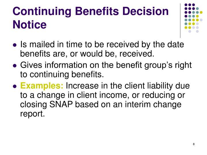 Continuing Benefits Decision Notice