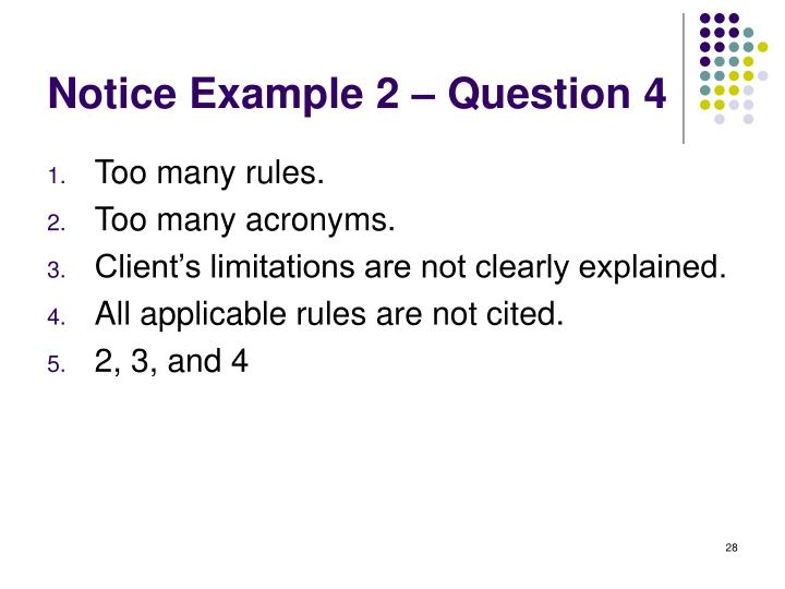 Notice Example 2 – Question 4