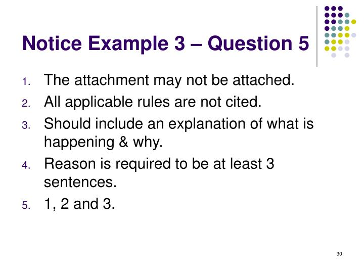 Notice Example 3 – Question 5