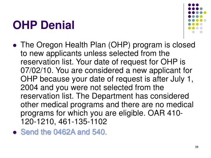 OHP Denial