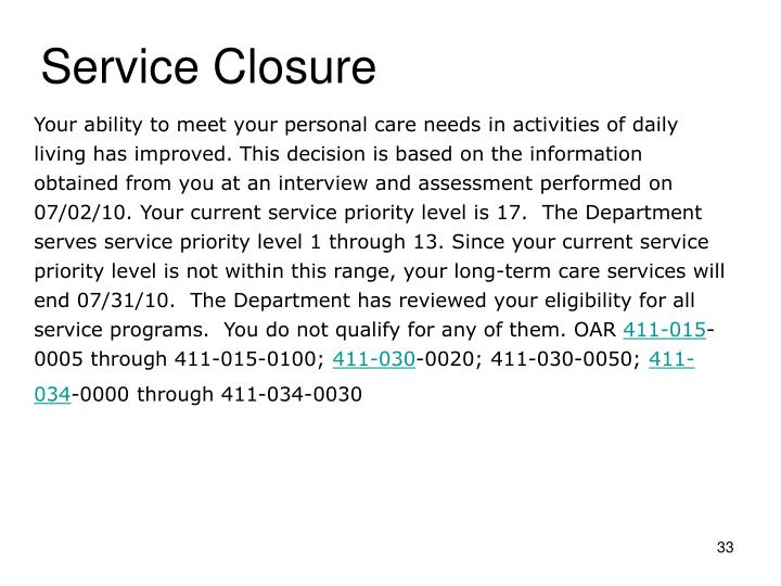 Service Closure