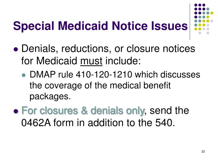 Special Medicaid Notice Issues