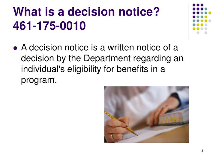 What is a decision notice 461 175 0010